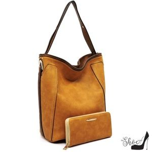 My Bag Lady Online Bags - Macie Vegan Leather Denim Texture Handbag Set